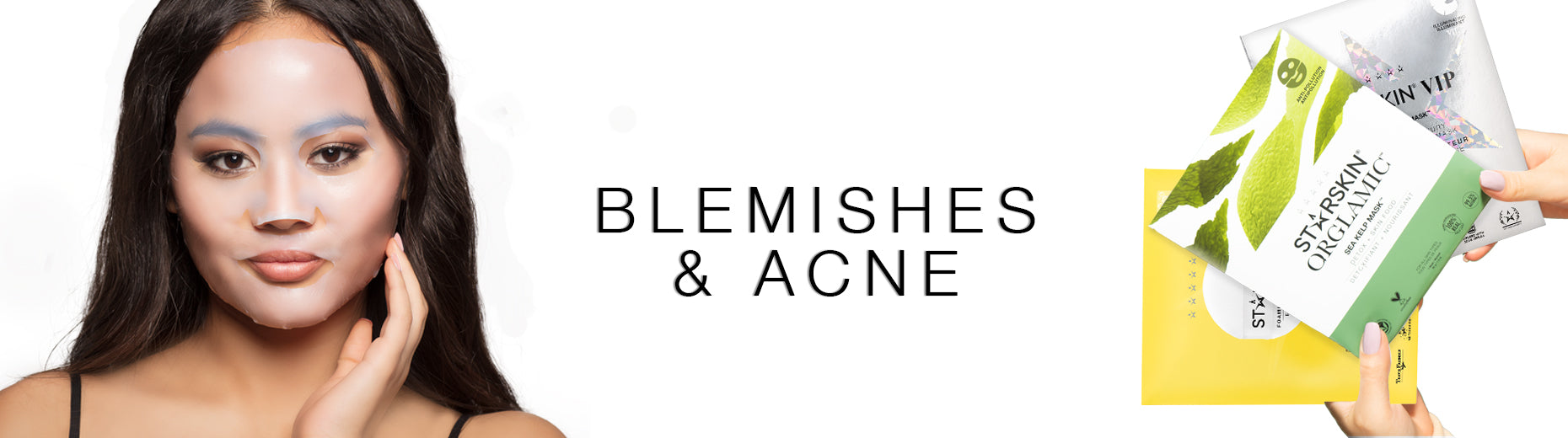 banner acne model and bio cellose sheet mask