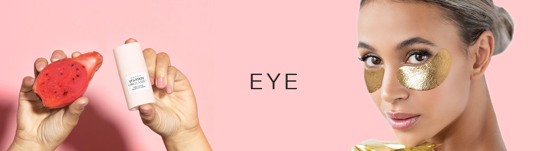 banner eye model wearing vip gold eye patches pink cactus fruit and pink cactus velvet eye creameye c