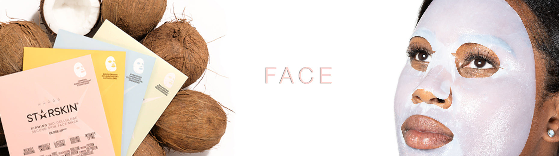 banner face coconuts with bio cellulose range model wearing face sheet mask