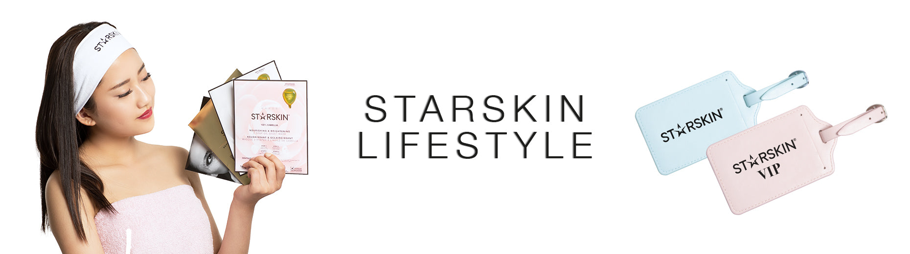 banner lifestyle showing model with starskin hairband and luggage tags