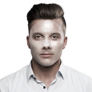 Male model wearing the Leading Man face sheet mask on his face