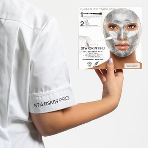 Model holding the PRO Platinum Peel Mask Pack