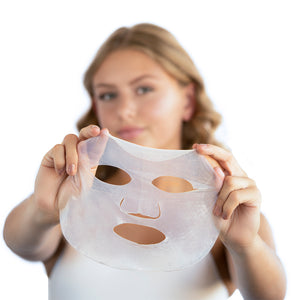 Model showing the After Party face sheet mask with outstretched arms