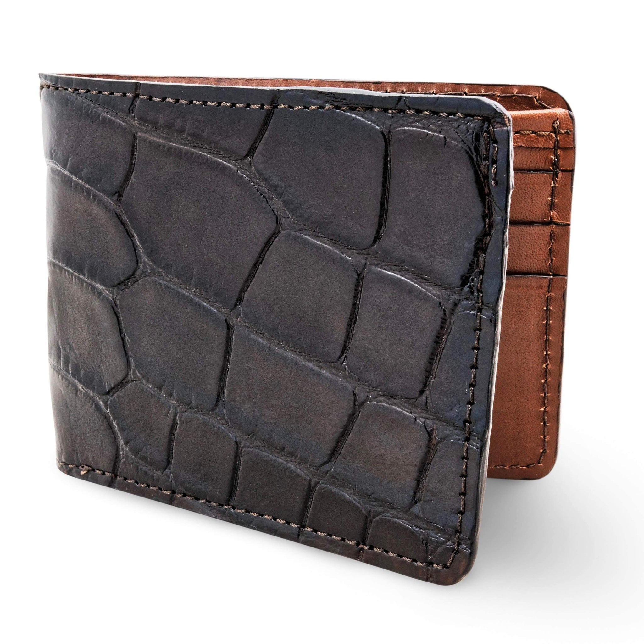 Black alligator wallet for men