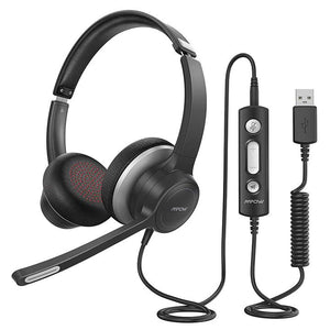 HC6 USB Headset with Microphone, On-Ear 3.5mm Jack Call Center Headset for Cell Phone,in-line Control with Mute for Skype, Webinar