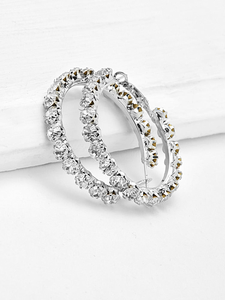 Rhinestone Hoop Earrings - Boutique Michaud LLC