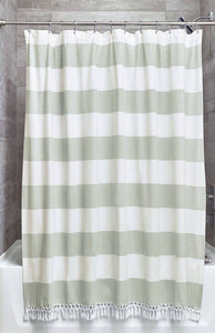 Wide Stripe Shower Curtain - With Fringe