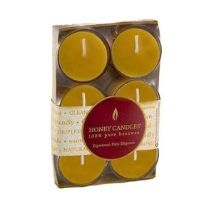Pack of Six Tealights in Clear Cup Beeswax Candles