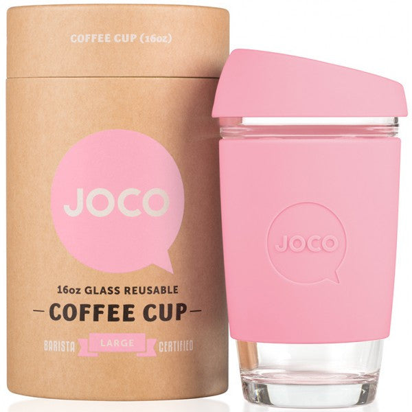 JOCO Reusable Glass Coffee Cup 16oz.