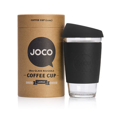 Joco Reusable Glass Coffee Cup 16oz. Black