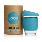 Joco Reusable Glass Coffee Cup 12oz. Blue