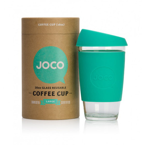 Joco Reusable Glass Coffee Cup 16oz. Mint