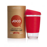 Joco Reusable Glass Coffee Cup 16oz. Red