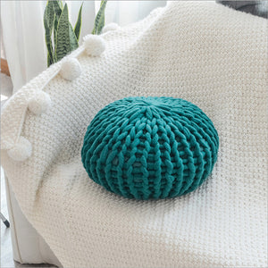 Hand-knit Round Cushion Pouf
