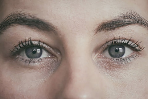 closeup of dry eyes