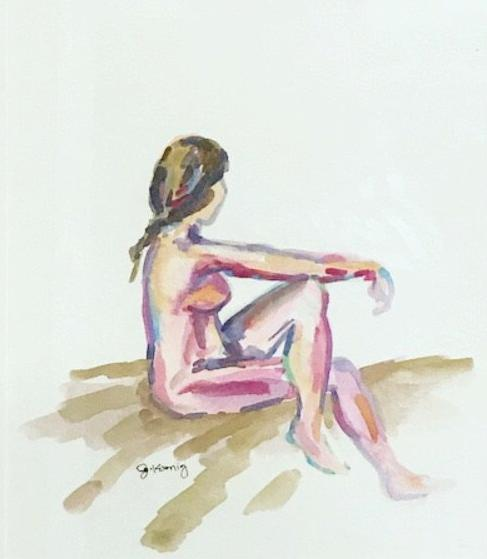 Quarantined Woman in Watercolor VII