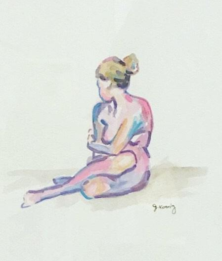 Quarantined Woman in Watercolor III