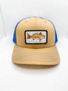 Biscuit/blue red drum hat