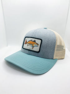 Gray and blue red drum hat