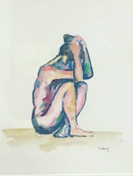 Quarantined Woman in Watercolor V