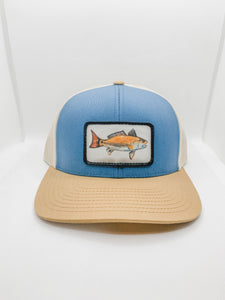 Ocean blue and gold red drum hat