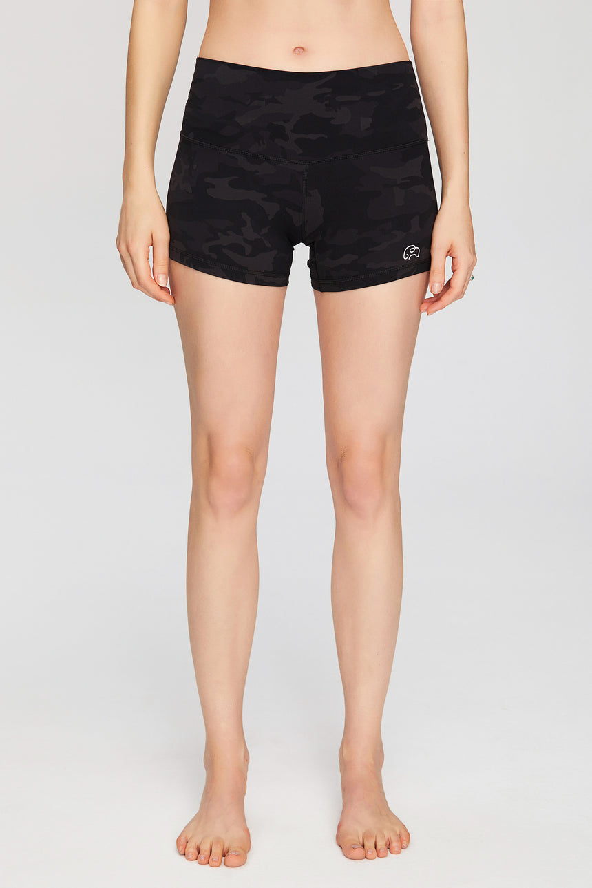 Dark Gray Camo High Waisted Workout Shorts - Zen Zen Studio NYC