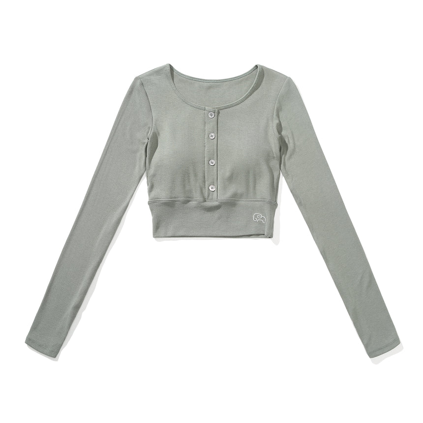 Anusara Micro-Ribbed Long-Sleeved Cropped Top With Buttons - Zen Zen Studio NYC