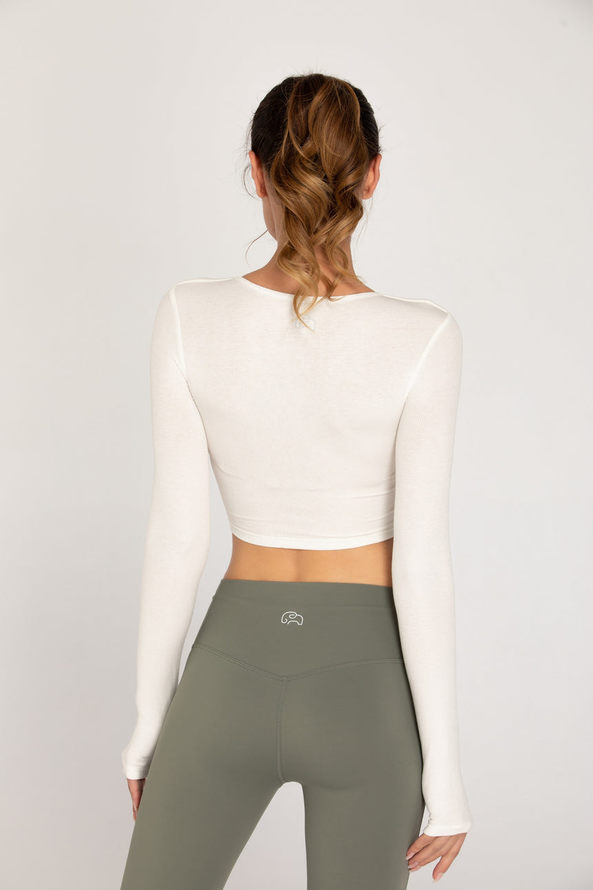 Anusara Long-Sleeved Active Cropped Top with Cutouts - Zen Zen Studio NYC