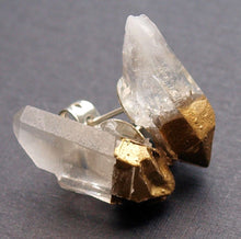 Load image into Gallery viewer, Gold & Raw Quartz Crystal Earrings