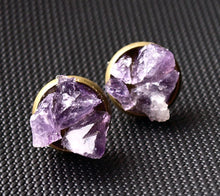 Load image into Gallery viewer, Amethyst Cluster Stud Earrings, Raw Amethyst Earrings