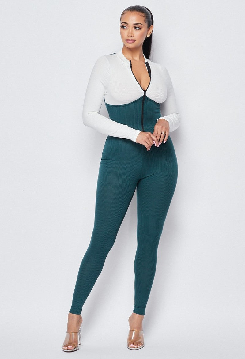 Colorblock Jumpsuit-Ivory/Green