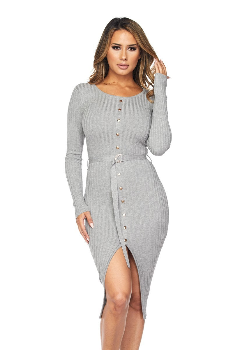 Ribbed Belted Midi Dress-Gray