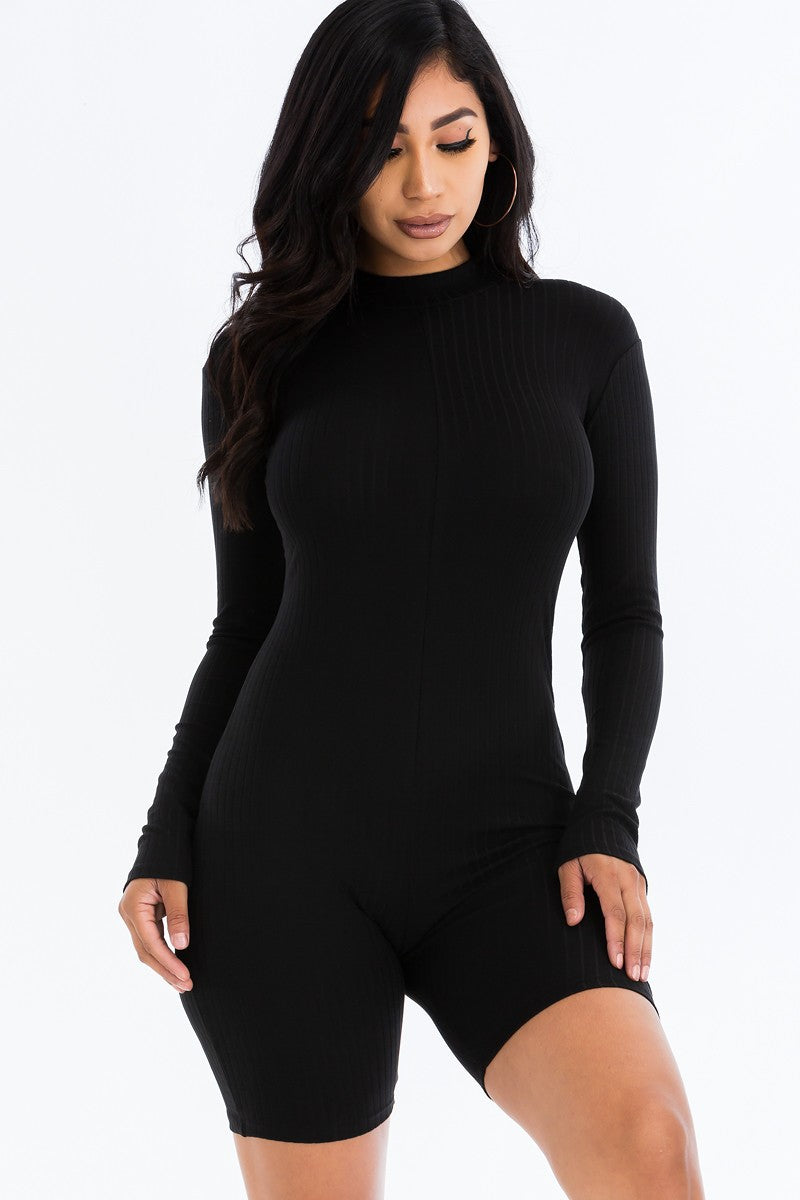 Ribbed Long Sleeve Romper-Black