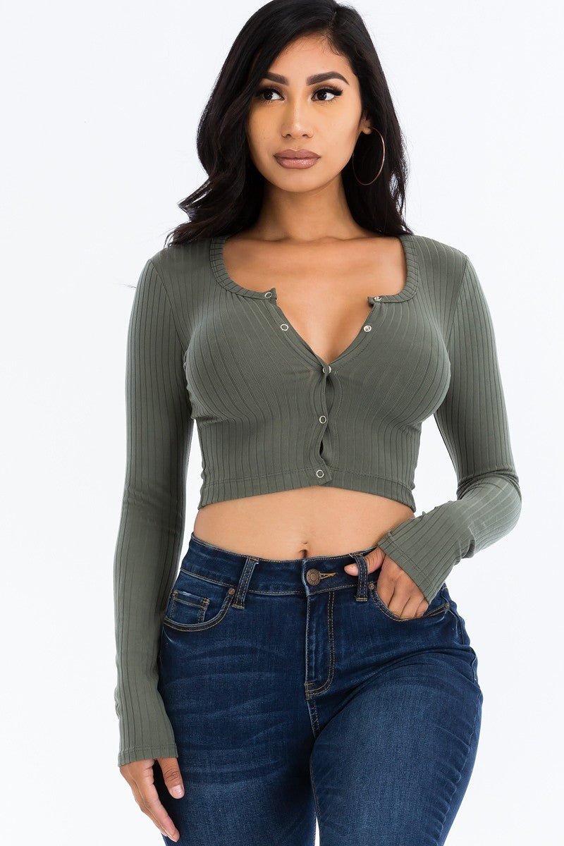 Button Up Crop Top-Olive