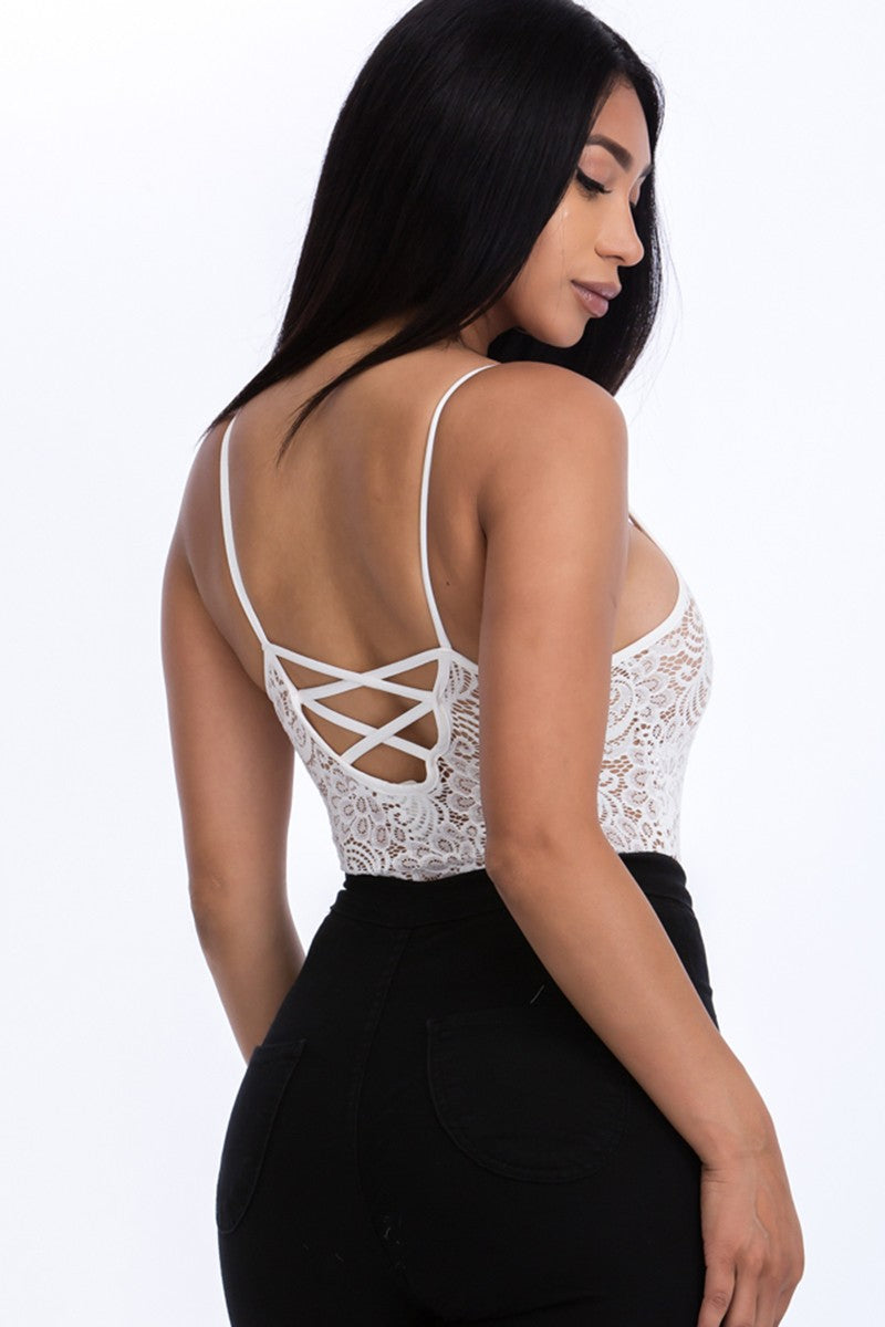 Lace Cami Bodysuit-White