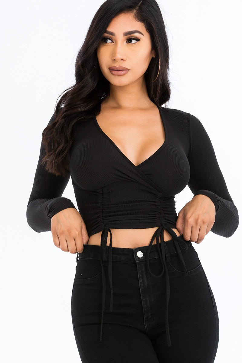 Shirred Cropped Top-Black