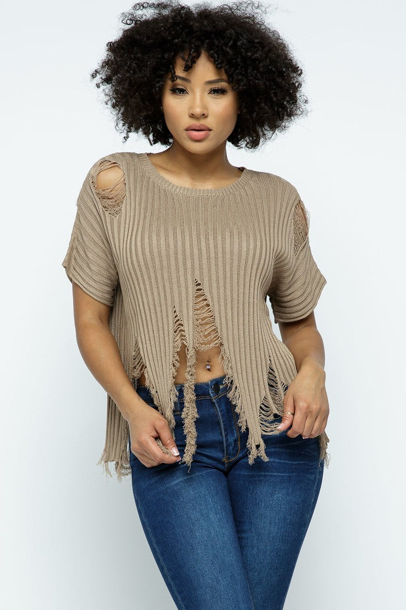 Distressed Sweater-Taupe