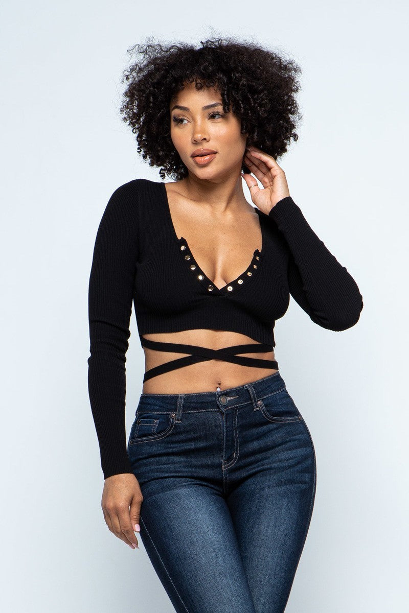 Wrap Around Crop Top- Black