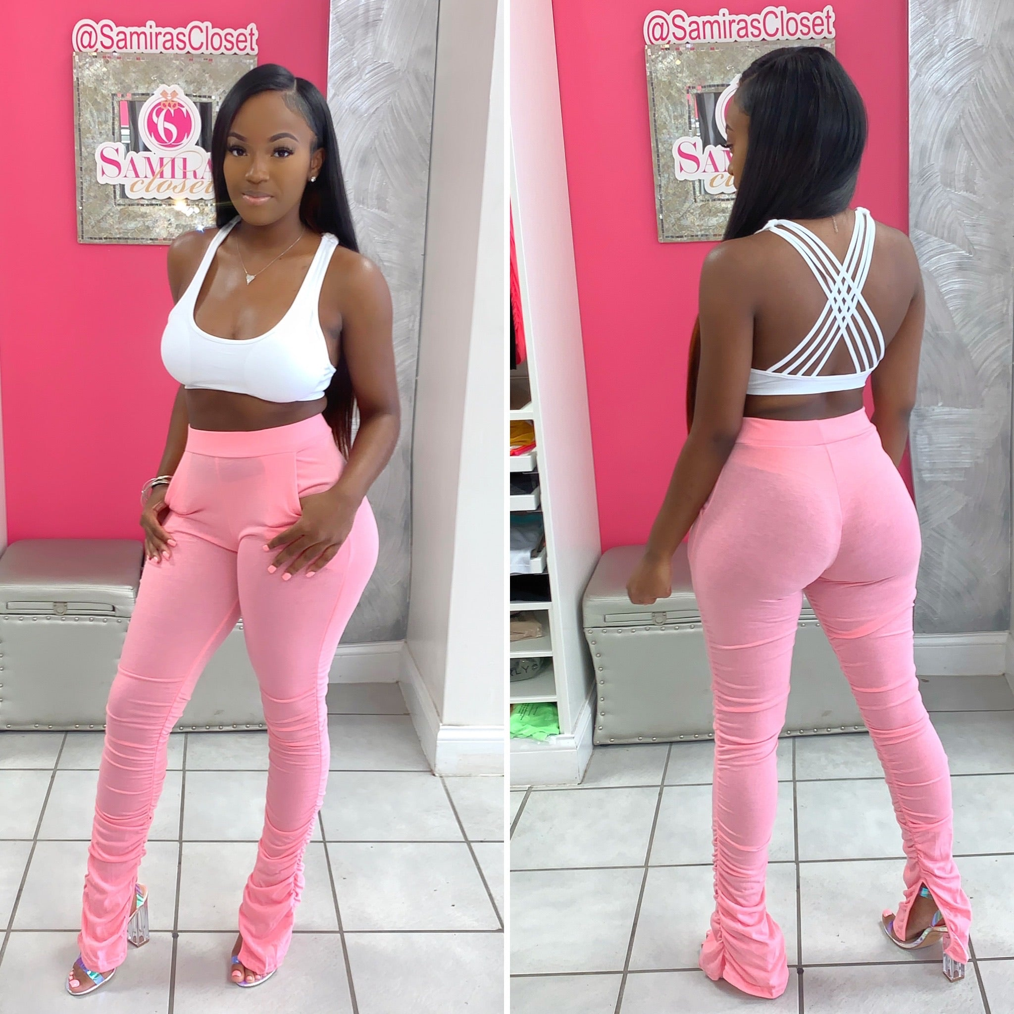 Stacked Leggings With Pockets-Pink