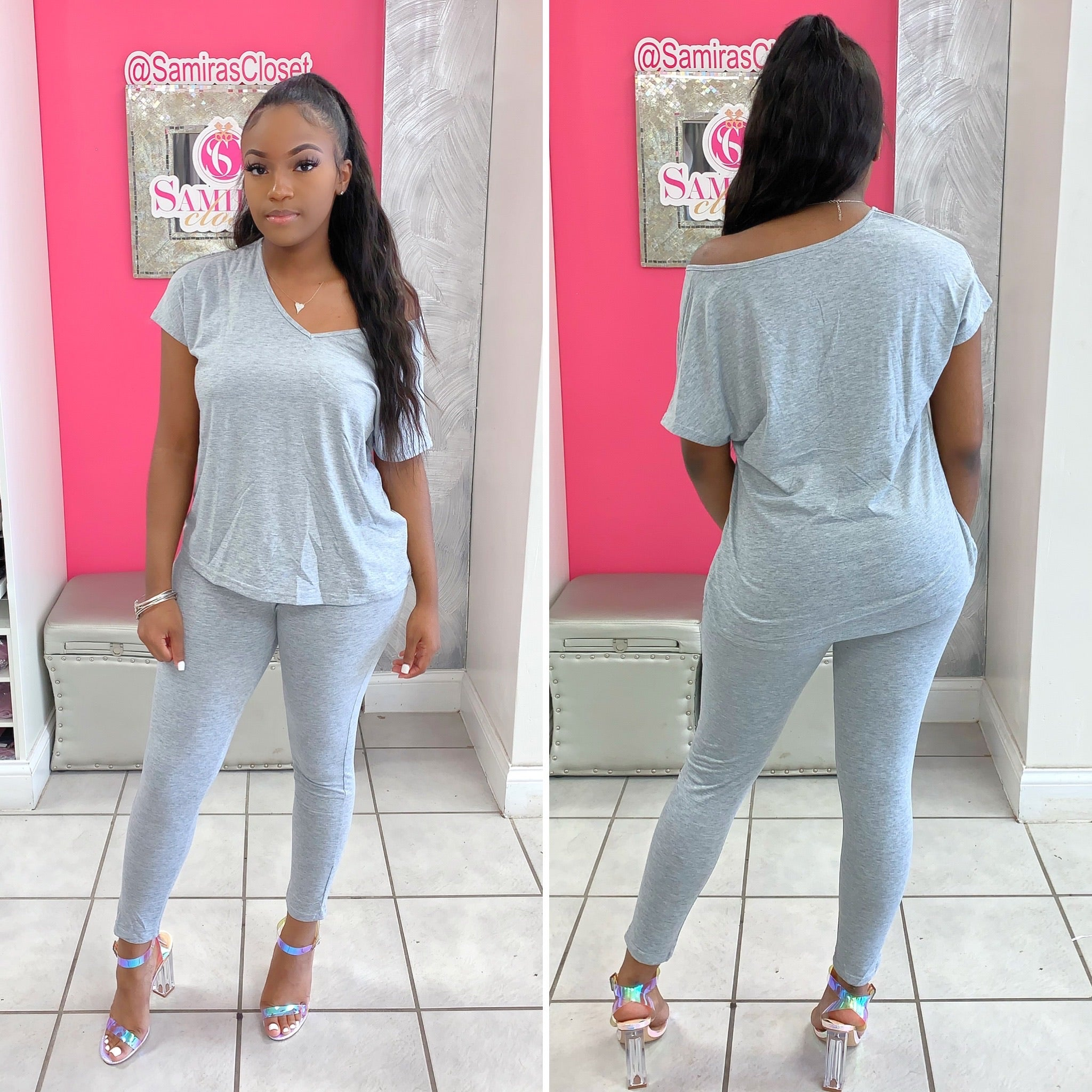 V neck Jogger Set-Heather Gray