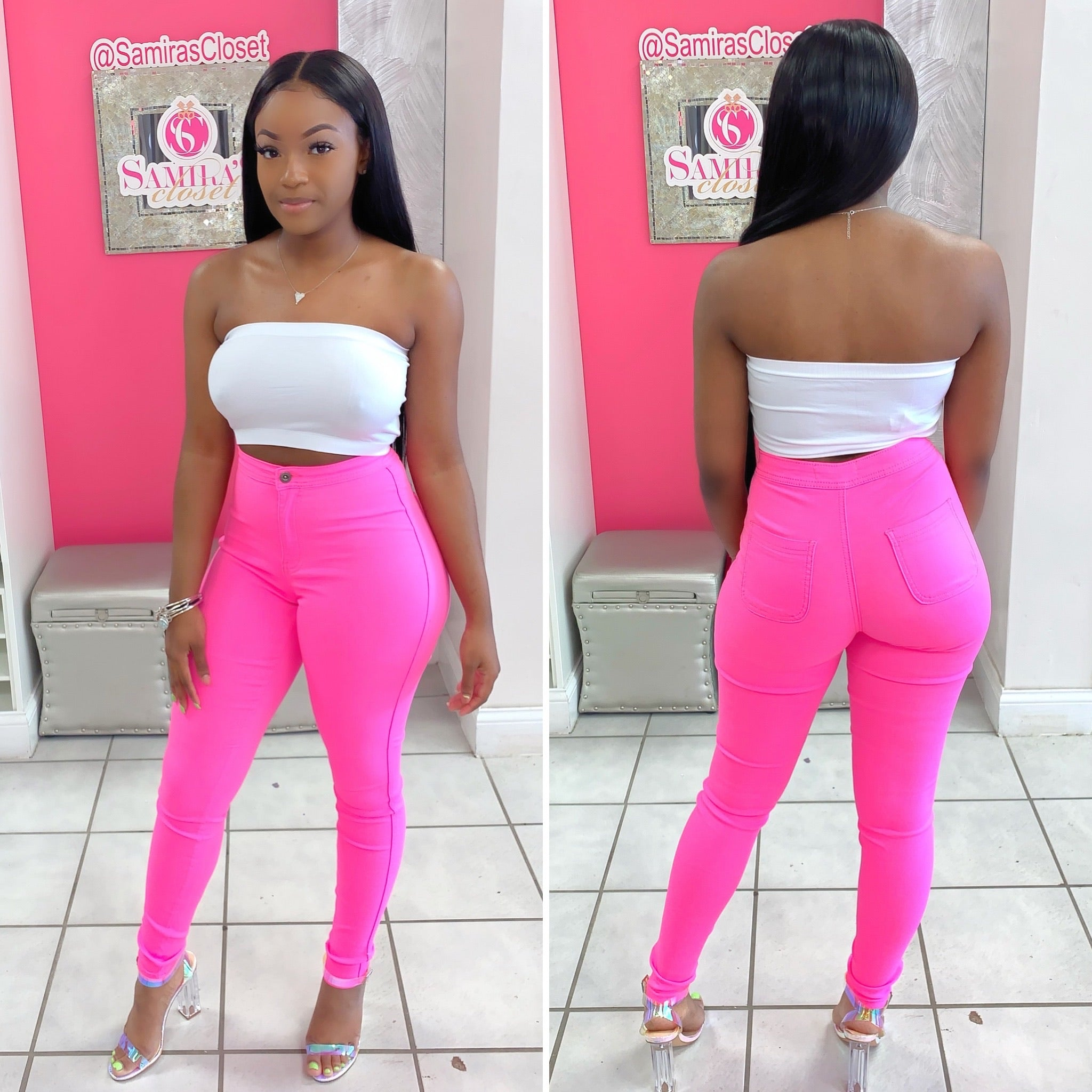 Extra Stretch Highwaisted Denim-Neon Pink