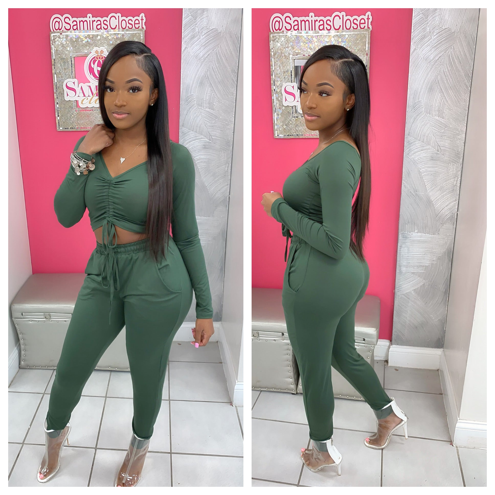 Long Sleeve Scrunch Top Jogger Set-Olive