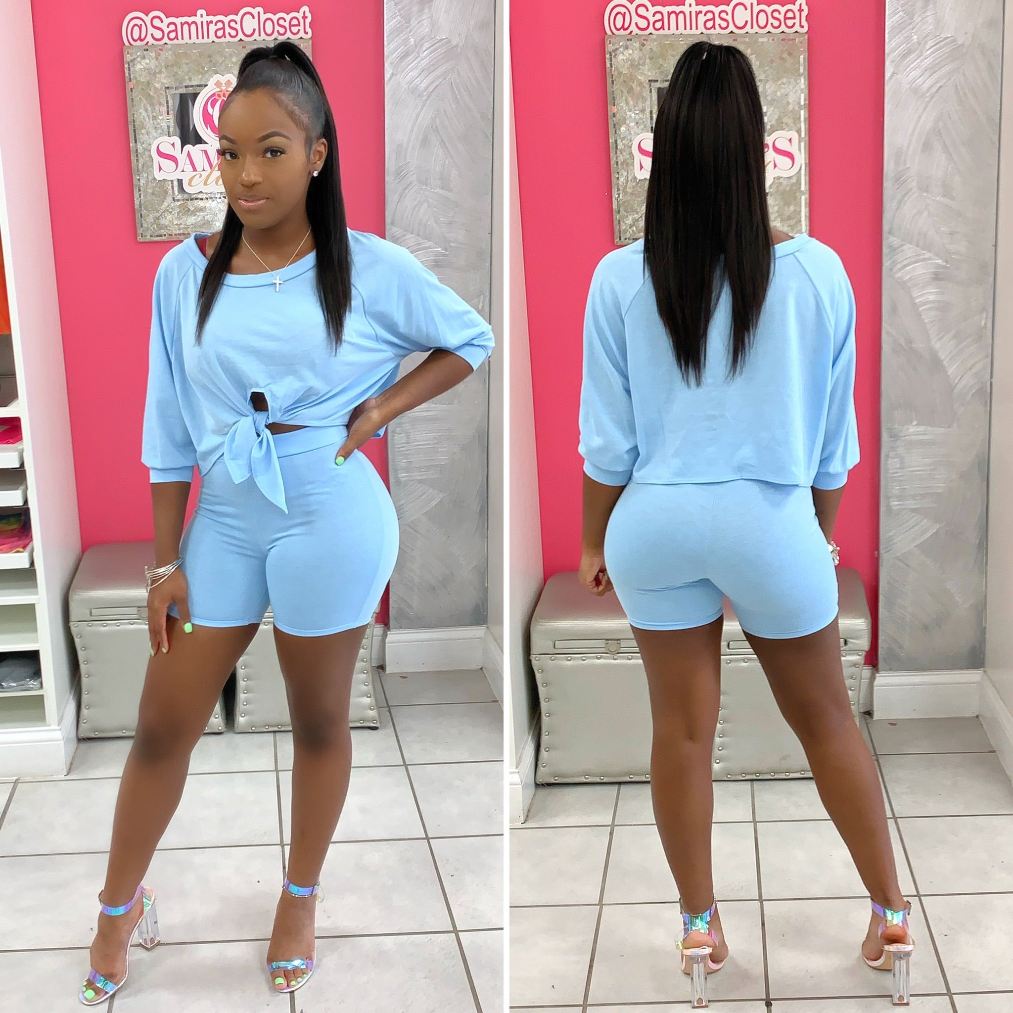 Front Tie Slouchy Short Set-Blue