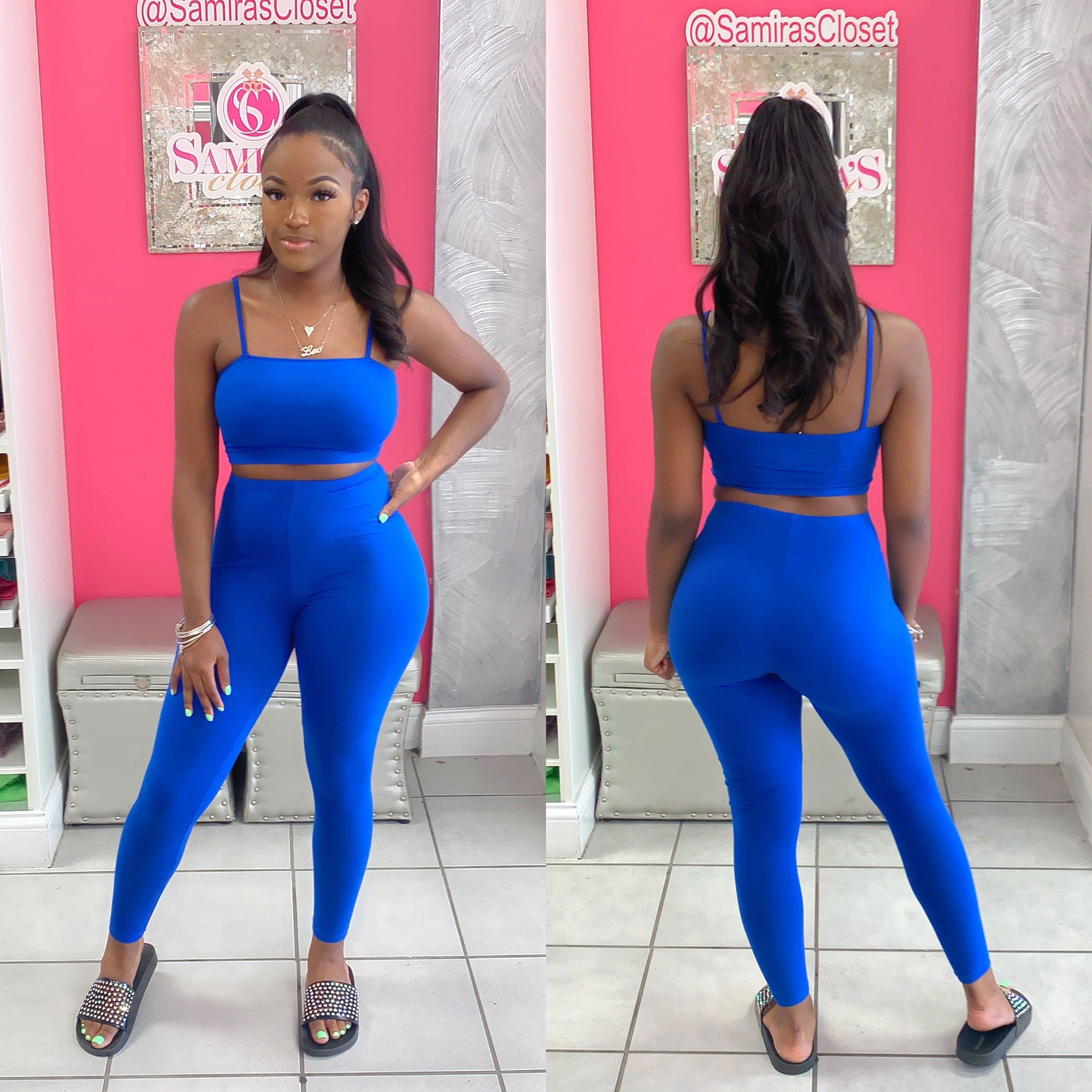 Strappy Crop Top and Legging Set-Royal