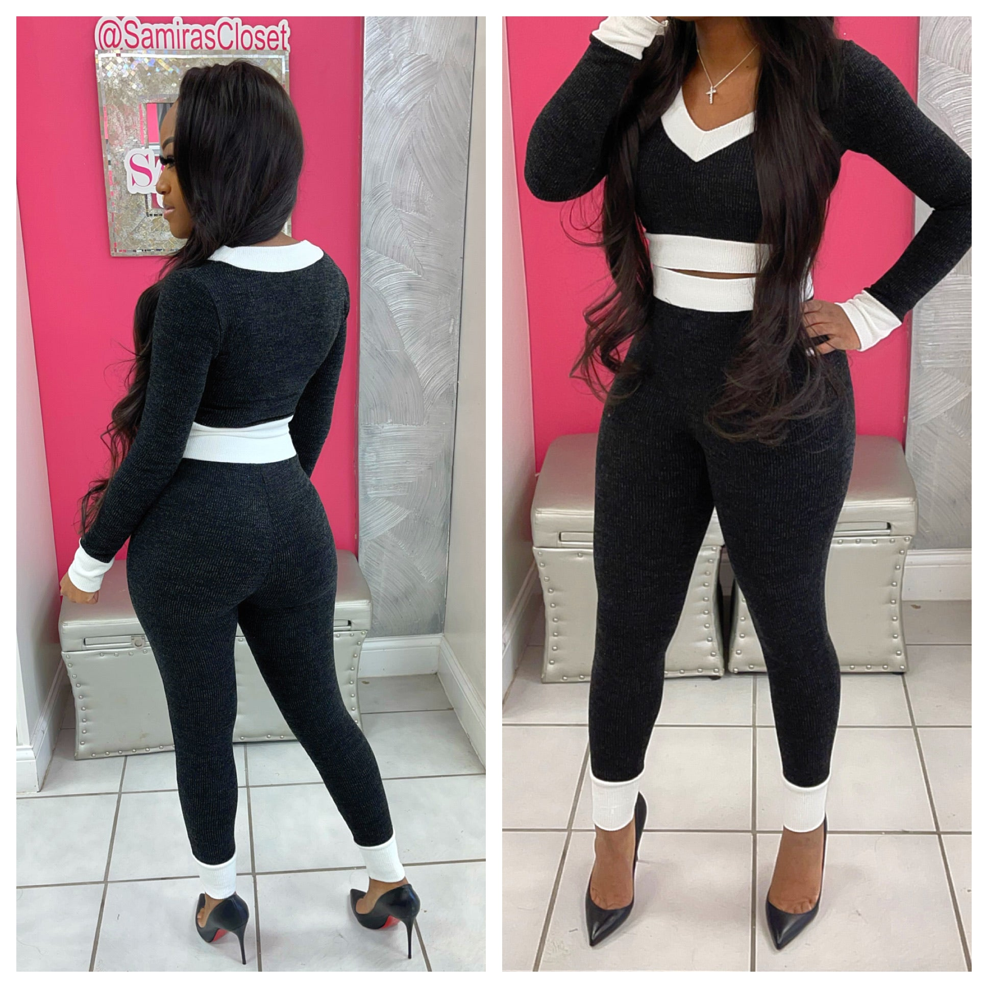 Long Sleeve Color Block Set-Black&White