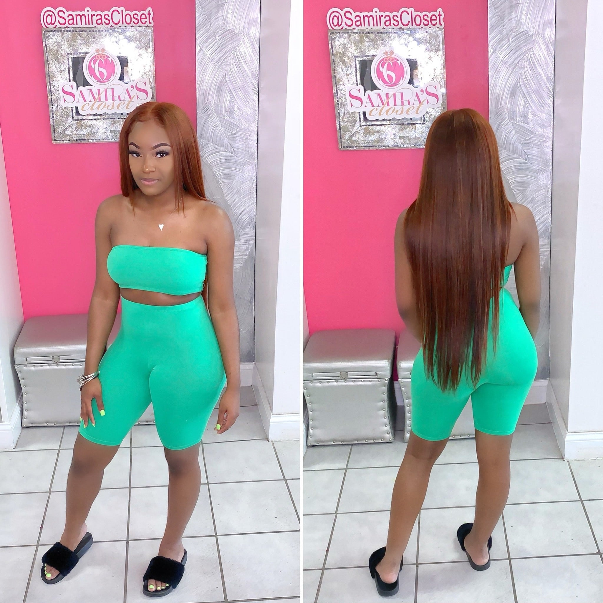 Cropped Tube Top & Biker Short Set- Green