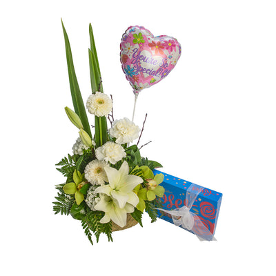 Flowers, Chocolates and Balloon from Mayflower Studio Florist in Marlborough, NZ