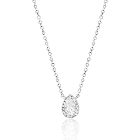 diamond pear shaped necklace in white gold