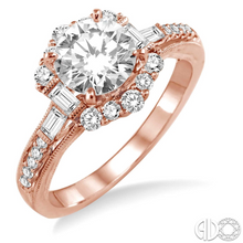 Load image into Gallery viewer, Symbolize your love and commitment to each other with this gorgeous diamond semi-mount. Fashioned in 14 Karat Gleaming Pink Gold, this ring is embellished with 24 brilliant fancy prong and pave set baguette and round diamonds that form a halo and flow down the shank in a brilliant row. The ring is designed to frame your choice of a center stone ranging from .85 carat to 1.20 carat (sold separately and not included in the price). The total diamond weight of the ring is .50 carat.  Center stone is sold separa