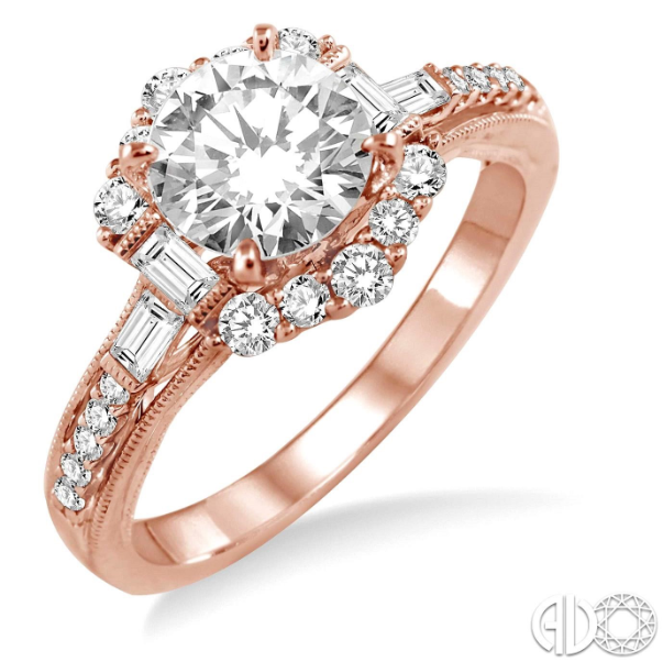 Symbolize your love and commitment to each other with this gorgeous diamond semi-mount. Fashioned in 14 Karat Gleaming Pink Gold, this ring is embellished with 24 brilliant fancy prong and pave set baguette and round diamonds that form a halo and flow down the shank in a brilliant row. The ring is designed to frame your choice of a center stone ranging from .85 carat to 1.20 carat (sold separately and not included in the price). The total diamond weight of the ring is .50 carat.  Center stone is sold separa